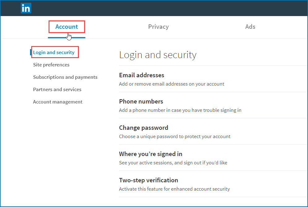linkedin profile login and security selection