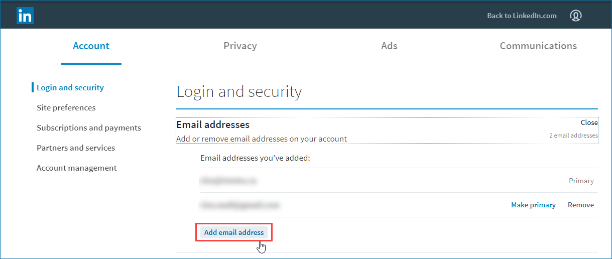 linkedin profile email address settings dialogue