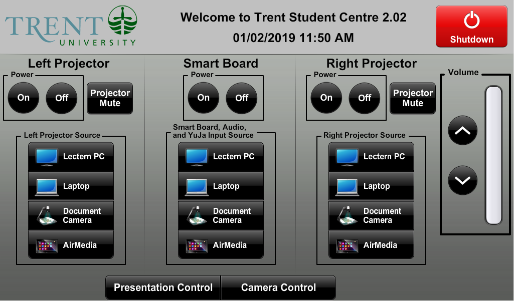 Audio visual control touch panel main menu