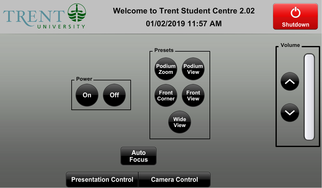 Audio visual control touch panel on camera control menu