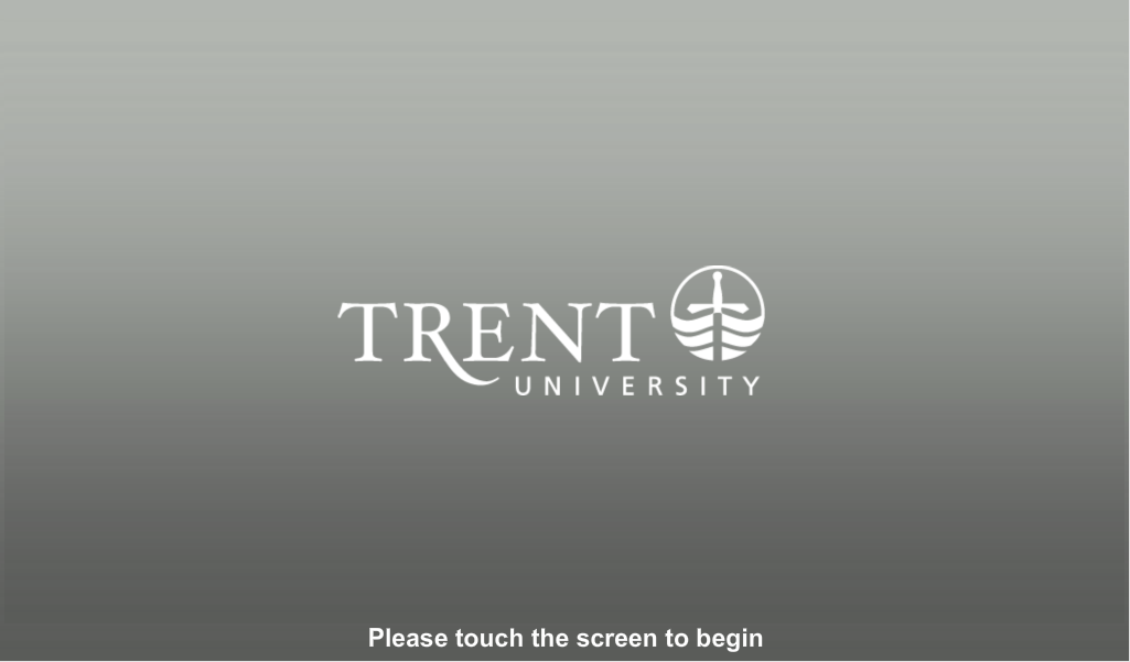 Audio visual control panel start screen  with Trent logo