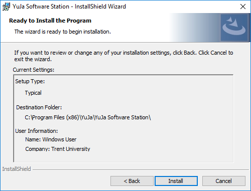 Yuja installshield ready to install prompt