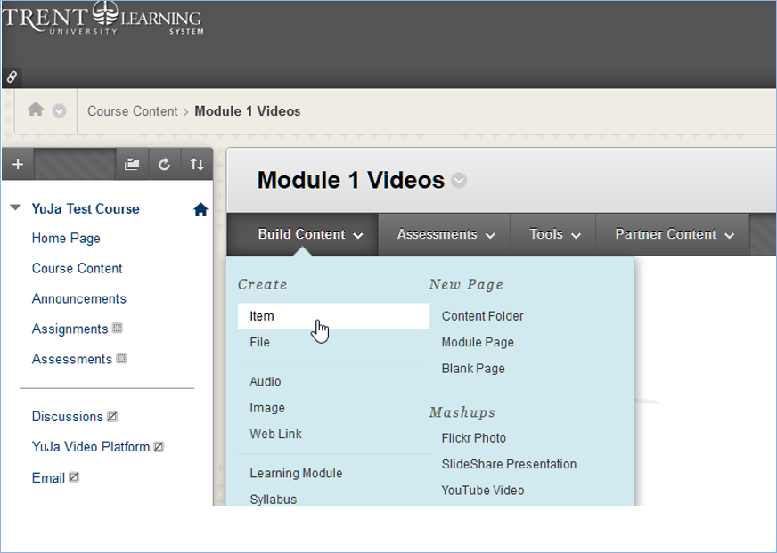 Blackboard menu build content select item