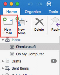 The office ribbon for mac with new email highlighted in red