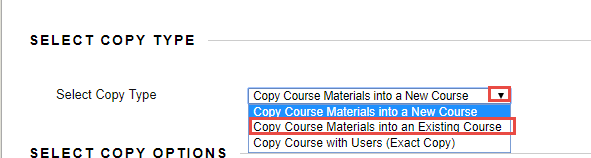 a screenshot that shows the copy type drop down box with the correct copy type highlighted in red