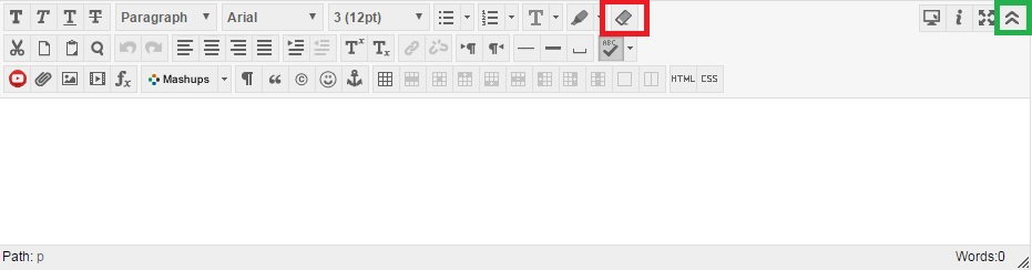 The Blackboard editor with the eraser icon and the top right chevron box highlighted