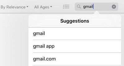 GMail at the top of search suggestions list in App Store
