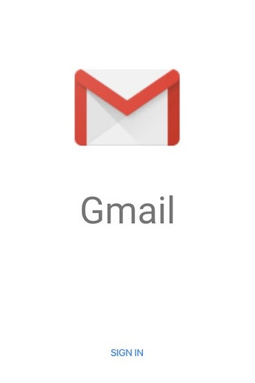 Launch screen for Gmail app after installation