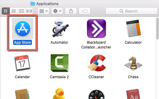 The Mac applications folder with the App Store highlighted