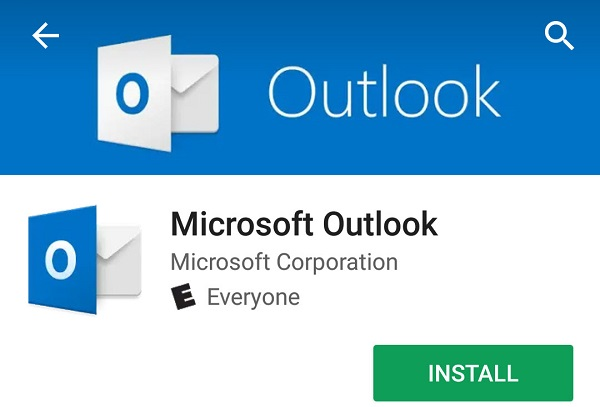 Microsoft Outlook app highlighted for selection in the Android app store
