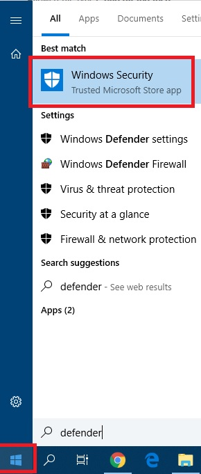 The windows start menu with Windows Security highlighted in red