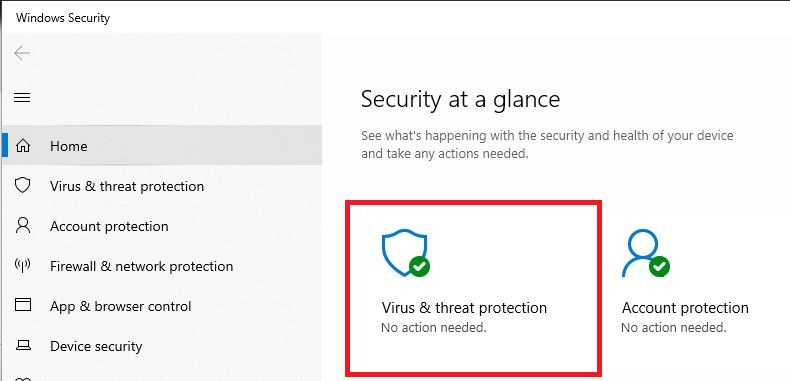 The Windows Security application with virus and threat protection highlighted in red