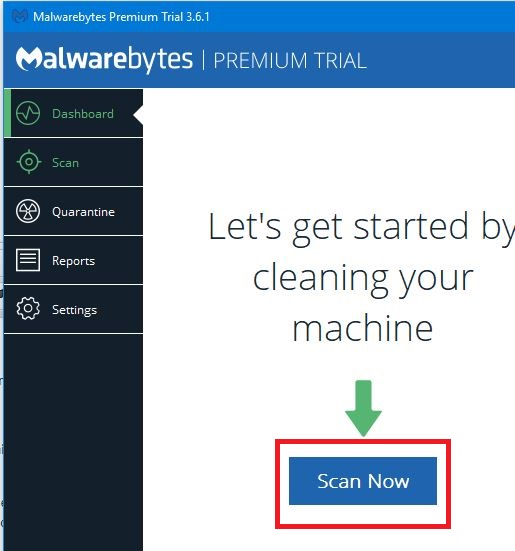 The malwarebytes application with Scan Now highlighted in red