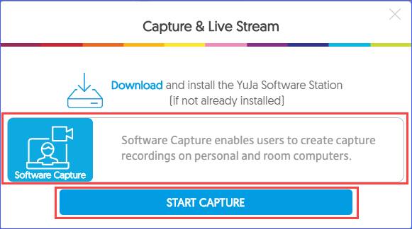 YuJa capture and live stream prompt