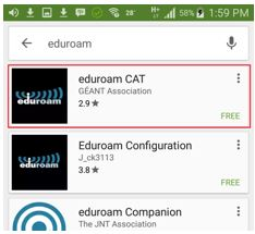 Screen shot of Google Play Store with eduroam CAT selected