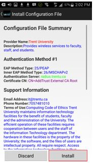 Screen shot of eduroam's CAT tool after selecting Trent University with the Install button indicated per Step 3