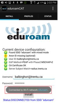 Screen shot of eduroamCAT indicates successful connection to eduroam WiFi and current device configuration information