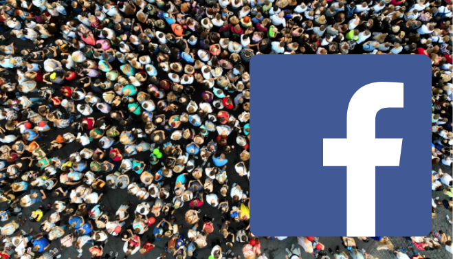 many people and the facebook logo