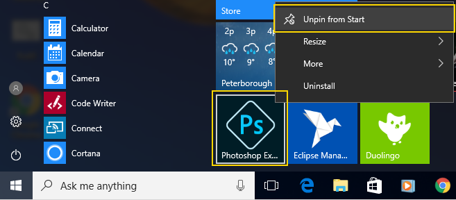 Right click and unpin or uninstall from Start menu