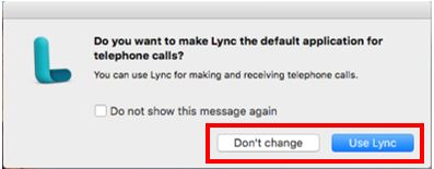 "Screen shot of Lync screen asking if you want it to be default application for telephone. Has ""Use Lync"" hightlighted for selection"