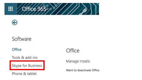 Screen shot of Office 365 installs screen with Skype for Business highlighted