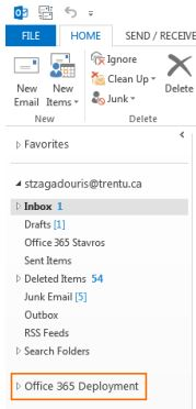 Screen shot of navigation menu in Outlook with newly created shared mailbox highlighted. In the example the shared mailbox name is Office 365 Deployment
