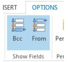 Screen shot of the From field located in Options in the Outlook ribbon (Step 3 above)