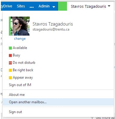 "Screen shot showing Outlook web app with ""Open another Mailbox"" highlighted in the Navigation pane"