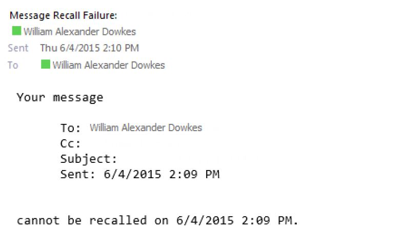 Screen shot of Message Recall Failure notice sent to the initiator