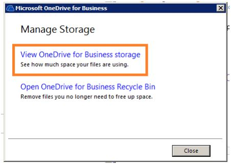 "Screen shot of the ""View One Drive for Business storage bounded by a box in the Manage Storage menu on One Drive"