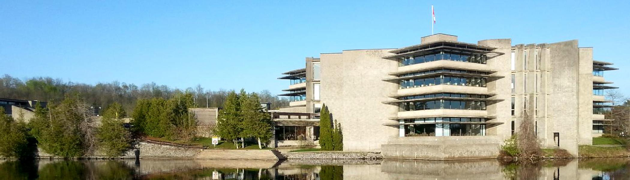 Bata library exterior in the spring, overlooking the Otonabee