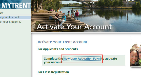 A picture of the activation page with the new user activation form highlighted
