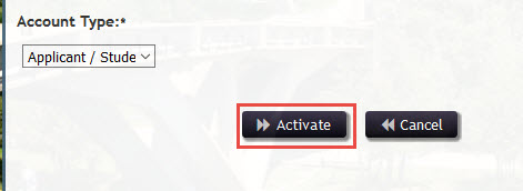 A picture of the activation form with the activate button highlighted