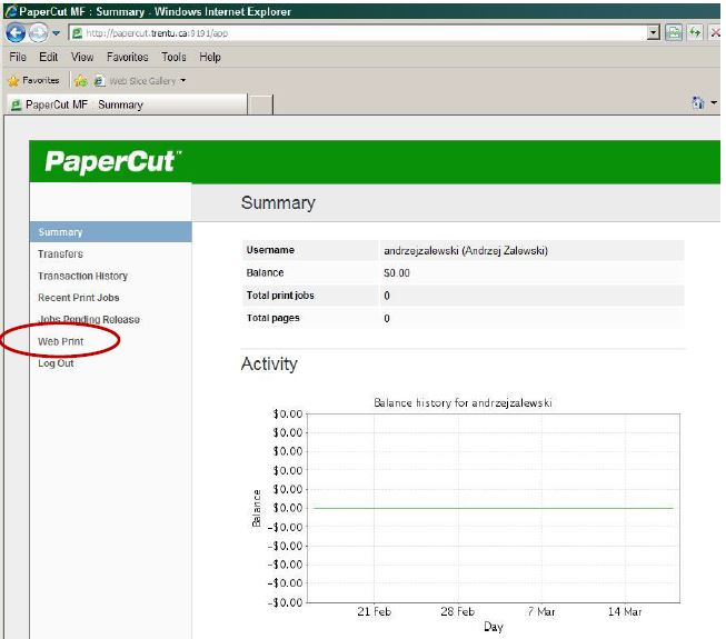 Screen shot of personalized use summary screen from which you choose Web Print in left side navigation bar.