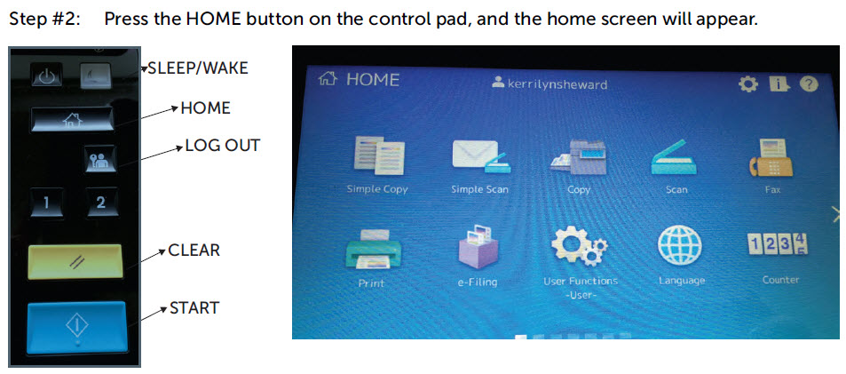 Image of the control pad and home screen.