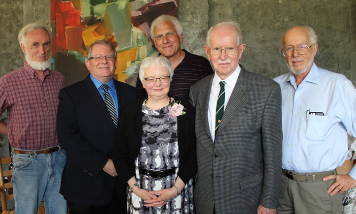 Janice Millard with Gord Ripley, Robert Clarke, Murray Genoe, and Tom Eadie
