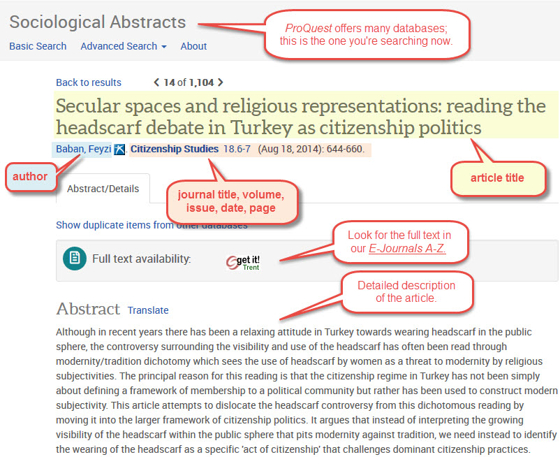 screen capture of a Sociological Abstracts full record (top portion only).