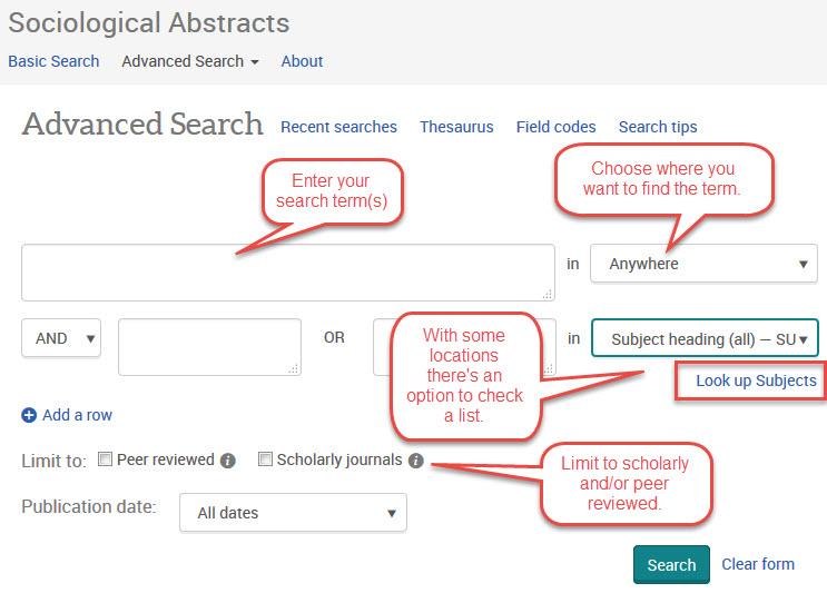 Screen capture showing the Advanced Search options described above.