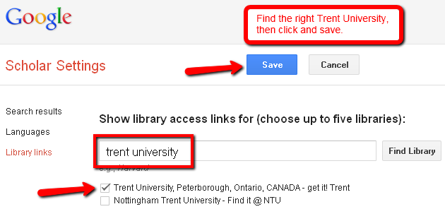 Screen capture of the Library Links page in Google Scholar.