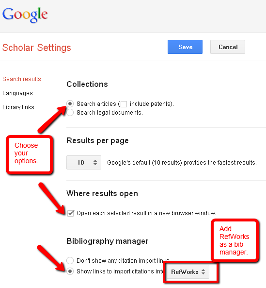 Using google google scholar and other web search engines trent screen capture of the settings page in google scholar ccuart Image collections