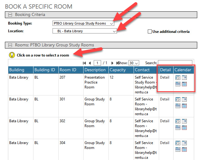 screenshot of booking a specific room
