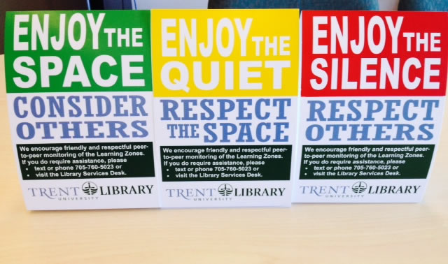 Photo of the signs in Bata Library