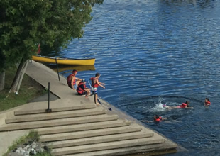 A photo of kids from the Trent Summer Sports Camp swimming on the Bata steps