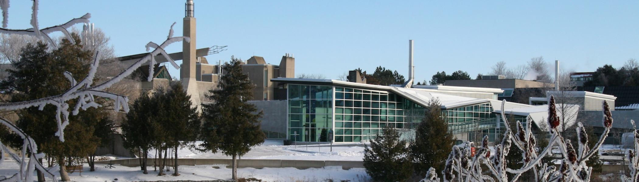 The chemical sciences building at Trent University in the winter time