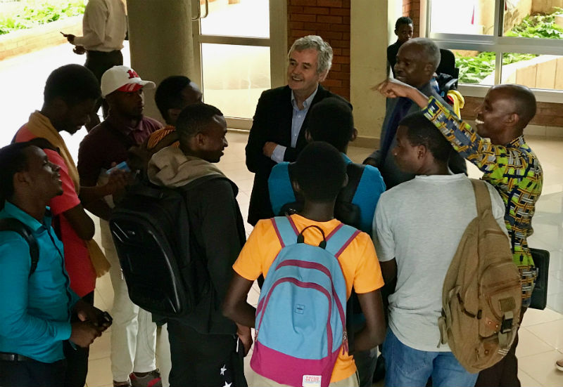 Students meet with Dr. Leo Groarke at the University of Rwanda