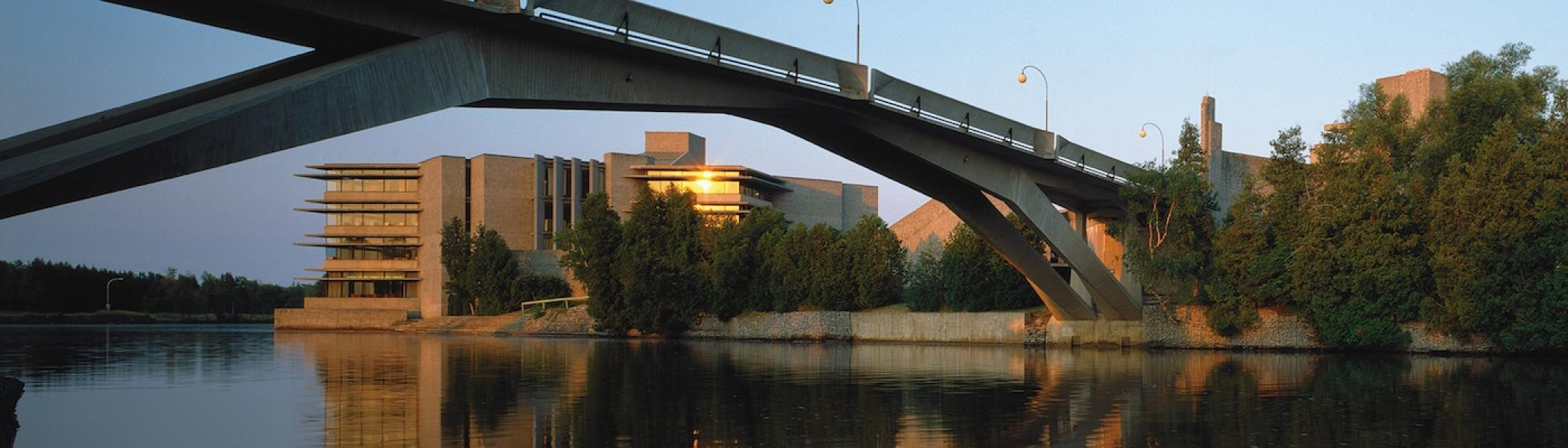 View of the Bata Library and the Bridge from East Bank Trent University
