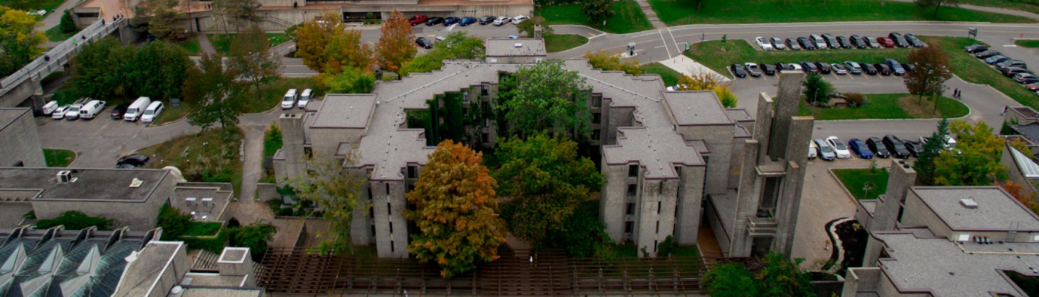 Champlain College photographed from above