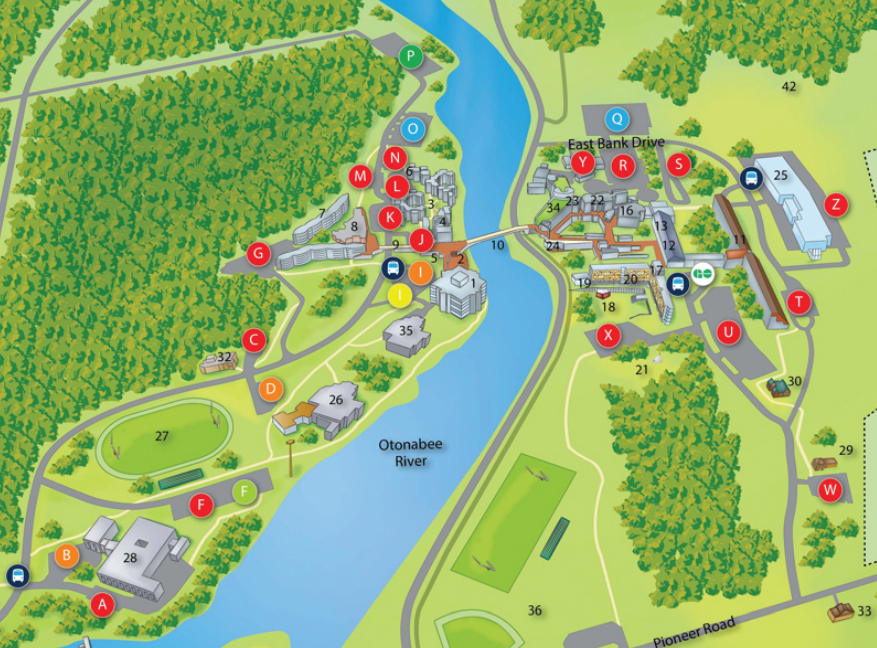Map of Trent University Peterborough campus with some locations noted by letters and symbols