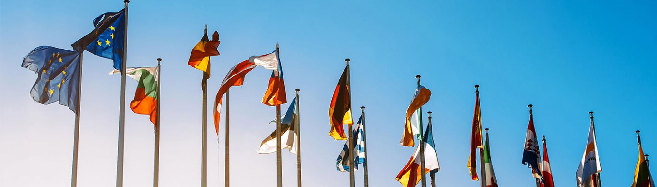Flags representing various companies up against a blue sky.