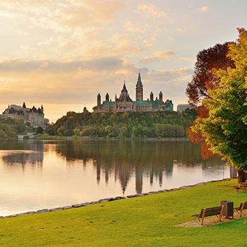 Shot of Ottawa's Parliament Hill from across the Rideau canal.